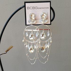 BCBGeneration Rhinestone Silver Dangle Earrings